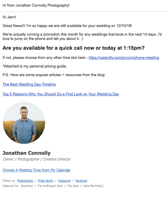 photographer email template
