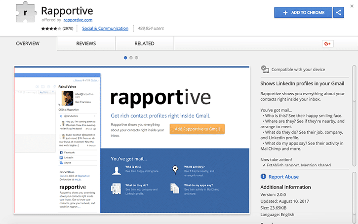 rapportive email research